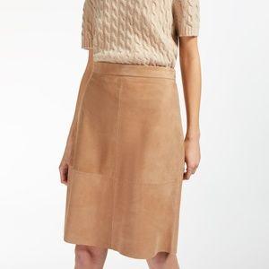 MaxMara VOGHERA Suede Skirt (Camel and Lamb)